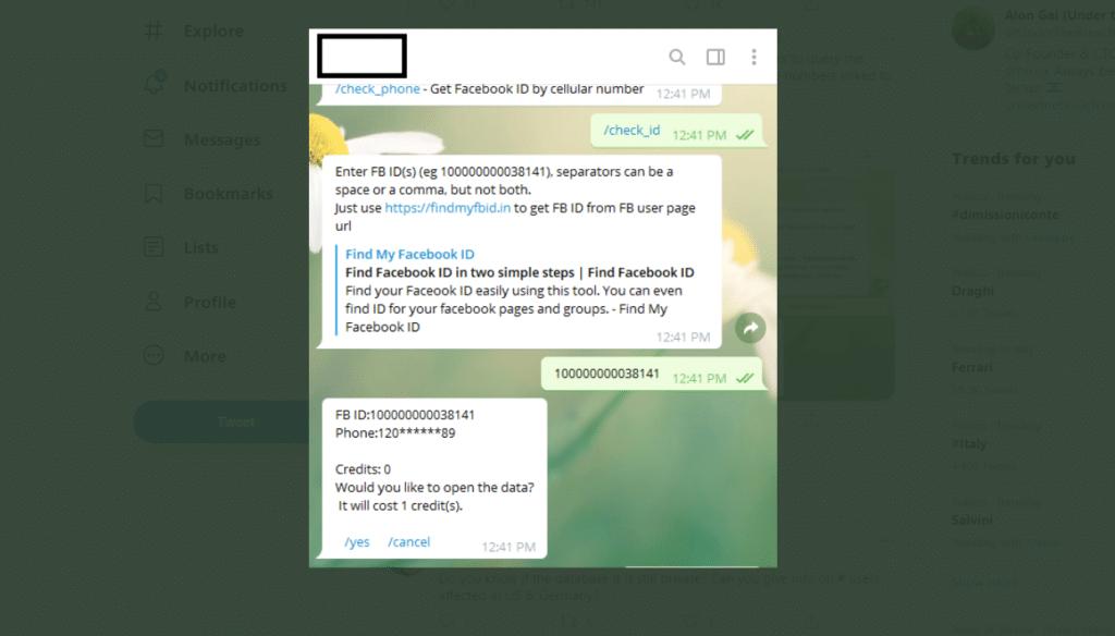 Il bot Telegram permette l'accesso al numero di telefono dato l'ID dell'account Facebook. Credits: Alon Gal