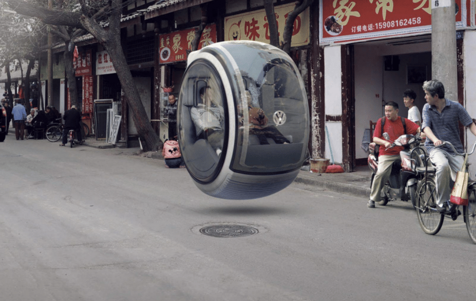 Un modello (fake) di auto volante Hover car di Volkswagen. Credits: Car from Japan
