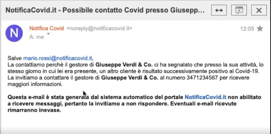 Un esempio di mail-notifica ricevuta dai clienti potenzialmente in pericolo. Fonte: Andrea Ghezzi - NotificaCovid