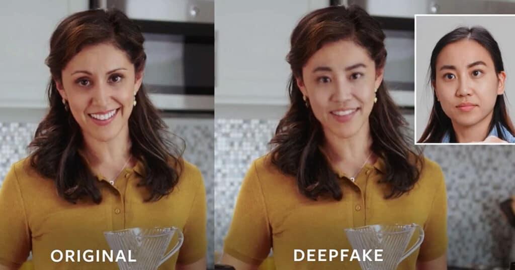 Deepfake e la sovrapposizione dei volti. Fonte: IEEE Spectrum