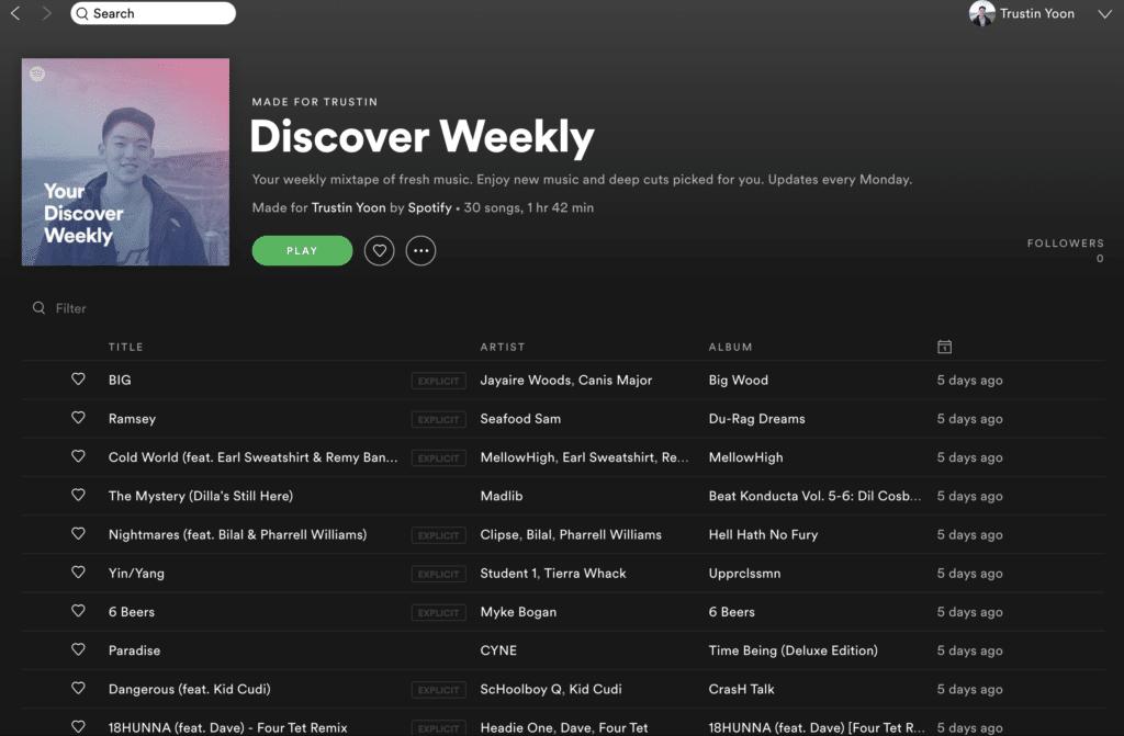 Spotify offre playlist per diversi tipi di attività quotidiane e per le novità della settimana o del mese. Fonte: Towards Data Science