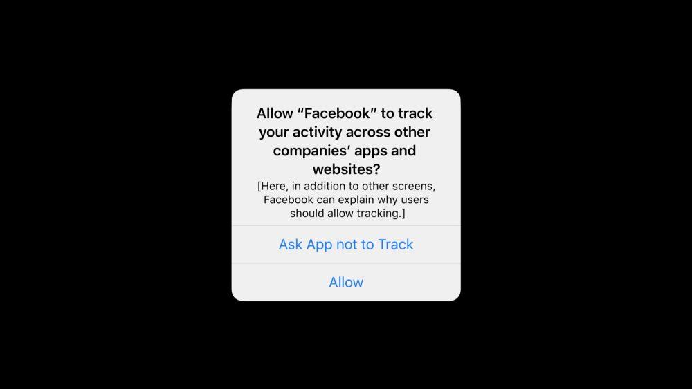 Il popup della nuova funzionalità per la privacy di Apple, l'App Tracking Transparency