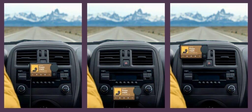 Car Thing di Spotify può essere attaccato in diversi punti comodi dell'auto. Fonte: CarthingSpotify