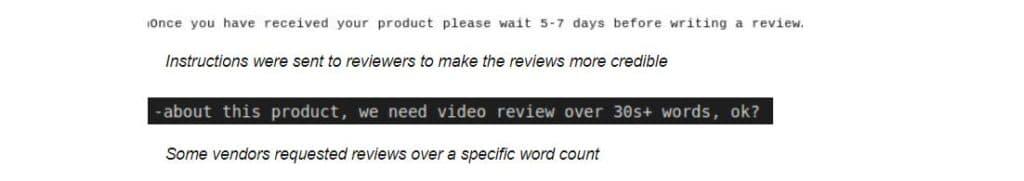 Un esempio di richiesta di recensioni da parte di un'azienda, in cui si richiede anche una lunghezza specifica. Fonte: Safety Detectives
