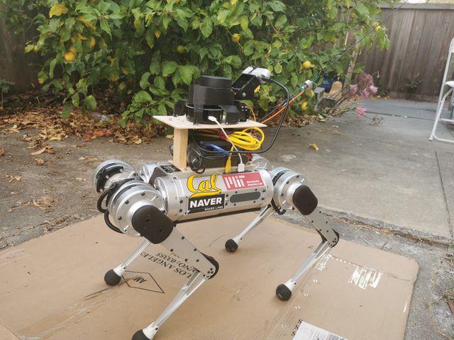 Fotografia del cane guida robotico realizzato dai ricercatori della UC Berkeley University. Fonte: TechXplore.