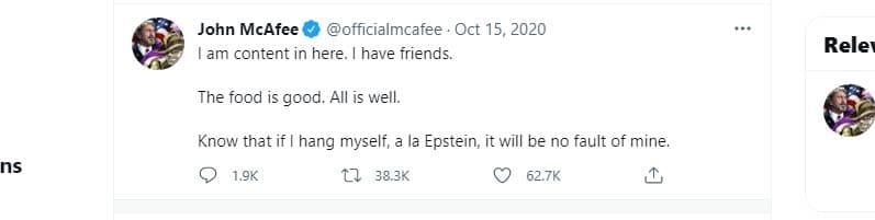 Il tweet di John McAfee dell'ottobre scorso.